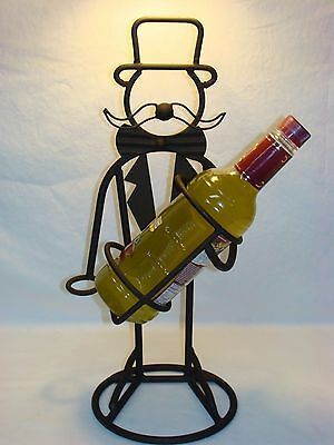 Vtg Wrought Iron Steel Top Hat Butler Wine Bottle Caddy Holder Bar Art Man Cave