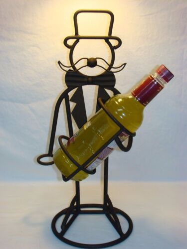 Vtg Wrought Iron Steel Top Hat Butler Wine Bottle Caddy Holder Bar Art Man Cave