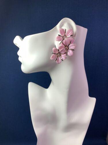 Vtg MCM Early Plastic Clip On Ear Climber Earrings Pink Flowers & Rhinestones