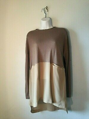 S) Hoss Intropia Spain Softest Cashmere to Viscose Tunic Beaded Neck