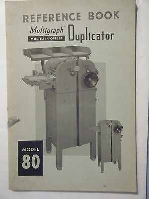 Reference Manual For Multilith Model 80 Press Multigraph Offset Duplicator 1955