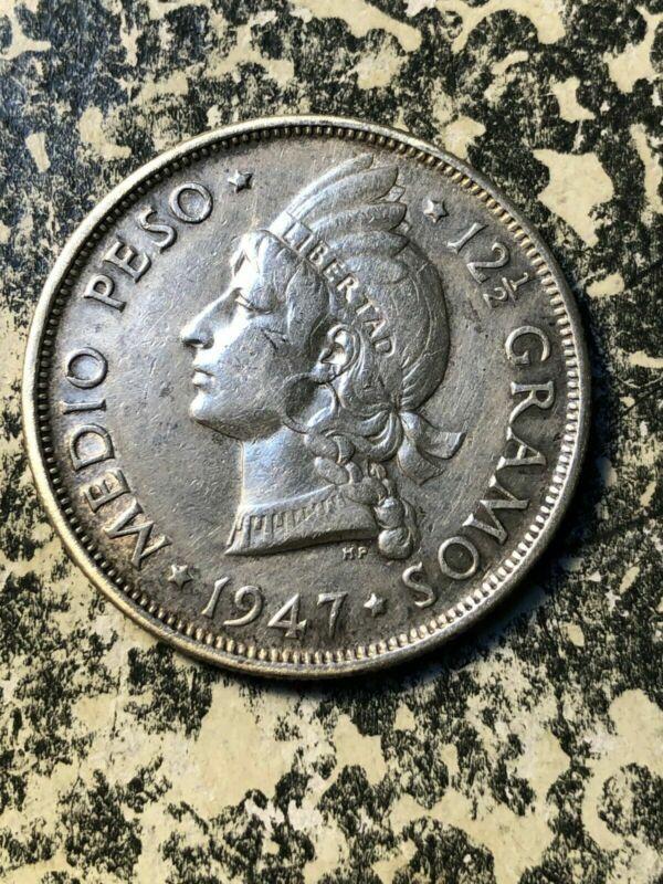 1947 Dominican Republic 1/2 Peso Lot#JM1770 Silver! Low Mintage! Nice!
