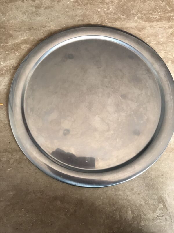 """Vintage Large Round 12.5"""" Stainless Tray / Dish """"STELTON of DENMARK"""" Good Cond."""