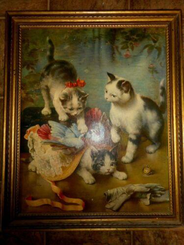 """Carl Reichert Mischievous Kittens Cat Kitty Framed Cardboard Print 22.5""""x18.5"""""""