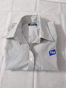 Cargo A&M Womens white&striped short sleeve shirt TAB logo Sz 10 NEW