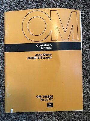John Deere Scraper Jd860b Owner Operator Maintenance Manual Omt58805