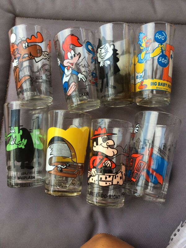 Lot Of 8 P.A.T. Ward Pepsi Character Drinking Glasses