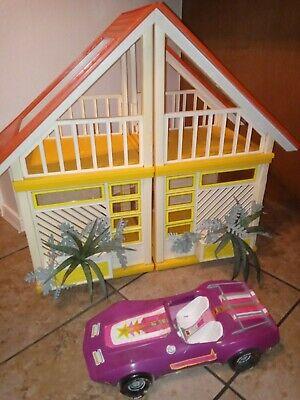 Vintage Barbie Yellow Orange A Frame Dream House #2588 1978 w starvette car READ