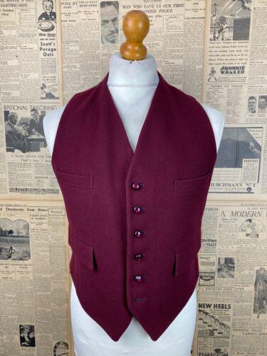 Vintage  burgundy doe skin country wool waistcoat size 40