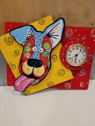 3D Cartoon Dog  Wall Clock Hand Painted Watch Decor Living Room