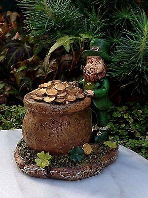 Miniature Dollhouse FAIRY GARDEN ~ St. PATRICK'S Day Leprechaun and Pot of Gold