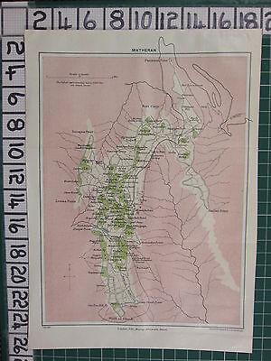 1926 INDIA INDIAN TOURIST MAP ~ MATHERAN HOTELS SPRINGS CHURCH BAZAR