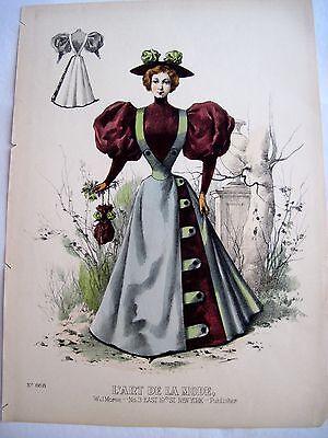 Stunning Vintage Fashion Advertising Print w/ Woman Wearing 1880's Dress  *