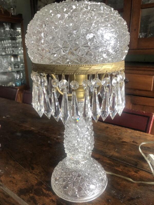 Antique American Brilliant Cut Glass Lamp Prisms EXC