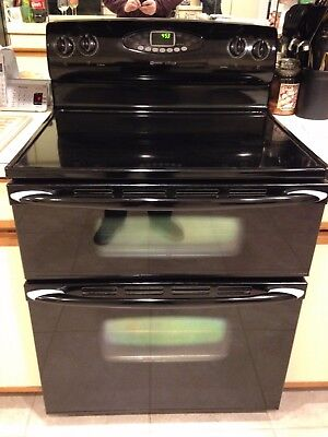 Maytag Gemini, Elec Range/Stove, Double Oven, Black, Glass Top, Self-Cleaning