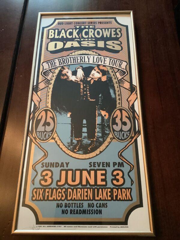 Oasis Black Crowes Brotherly Love Tour 2001 Arminski Framed Signed Poster