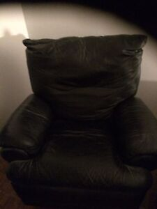 Leather armchair and sofa