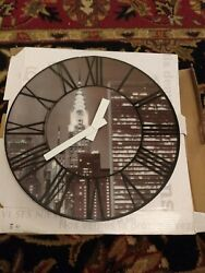Nextime Holographic 3D Wall Clock Cityscape New York Philly Mint in Orig Box
