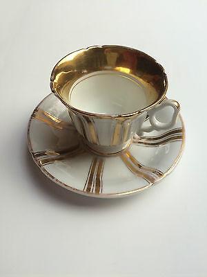 Tielsch Porzellan Manufaktur (TPM) Sammeltasse Gold / Weiss