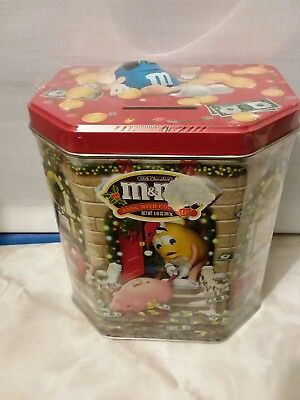 Retired 2003 M&M's Christmas Tin Bank Canister STILL SEALED w/CANDY Ltd Ed #17