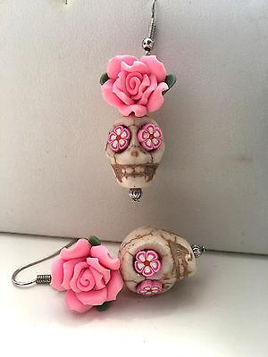 White & Light Pink Rose Sugar Skull Earrings.