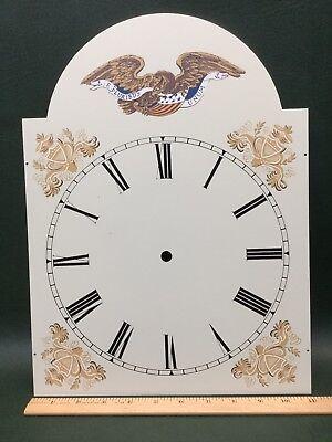NOS Vintage Large Metal Clock Face Dial w/ Bellamy American Eagle Flag ()