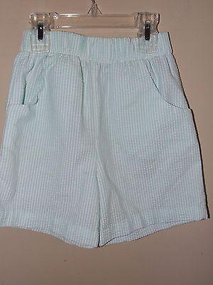 Chabre 5T Shorts Girls Green and White Pinstriped Seersucker Mint Wear w/ Smock