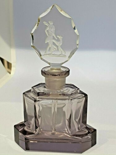 Vintage Art Deco CZECH Perfume Bottle - Diana (hunter) with dog - Amethyst