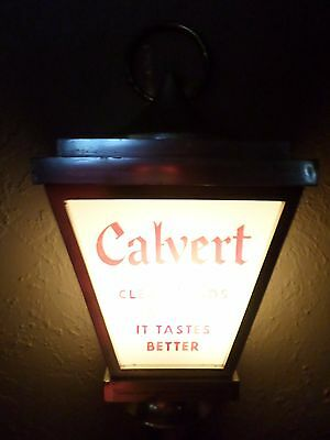 Vintage Rare Calvert Whiskey Light Lamp Wall Sconce Sign Clear Heads Agree