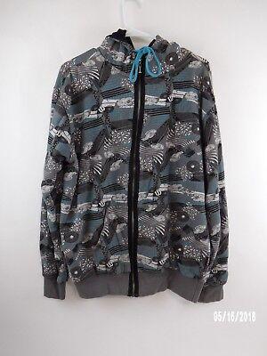 World Industries Large Hoodie Zip Up Sweatshirt Thermal Lined Paisley Blue Gray