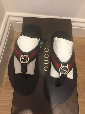 2fe731b4f Gucci GG Web Strap Leather Thong Sandals UK 6 EU 40