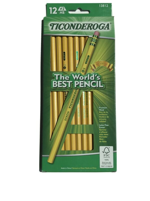 Ticonderoga Pencils 13812 12 Count #2 Yellow Wood School stationery writing NEW