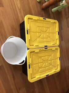 X2 100L Tuff Boxes plus a 26L Flexi Tub