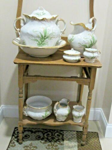 Vintage  10 / 11 Piece Vanity Chamber Set Small & Large Pitcher Basin Pot Jar