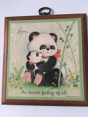 """Vintage Hallmark 1980 Wooden Panda wall plaque """"LOVE the coziest feeling of all"""""""