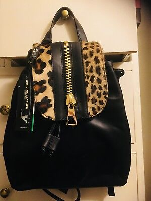 STUNNING BACKPACK MADE IN ITALY NWT BLACK& ANIMAL PRINT  PONY GENUINE LEATHER