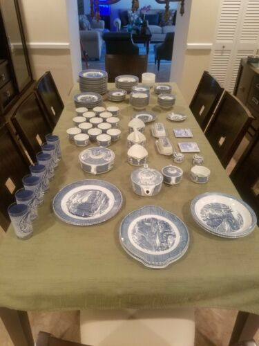 Massive Currier and Ives Dish Collection - 115 Pieces
