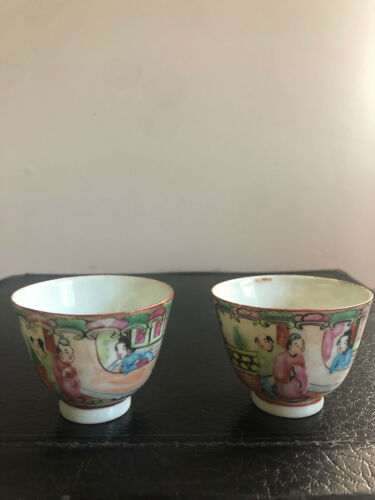"""Pair of Antique Chinese Porcelain Rose Medallion Cups 2 3/4"""""""