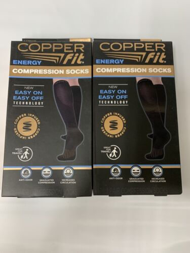 Copper Fit Energy Compression Socks Black Size L/XL Mens 9-