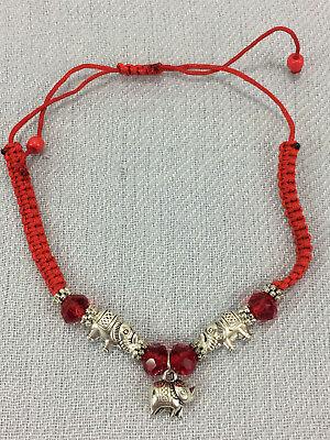 Three Elephant Charm Silver Toned Rope Fashion Bracelet Adjustable