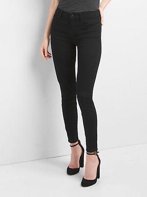 Gap Mid Rise True Skinny Jeans in Everblack, Sz 28 SHORT True Black (Short Rise)