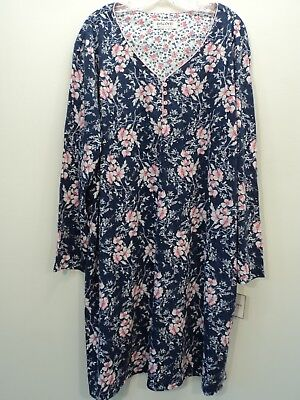 KAREN NEUBURGER Nightgown Sizes Med 1X 2X Blue Pink Floral L/S NWT FREE SHIPPING
