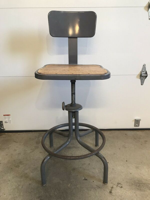Vintage Royal Metal Industrial Steel Adjustable Drafting Stool Mid Century 1940s