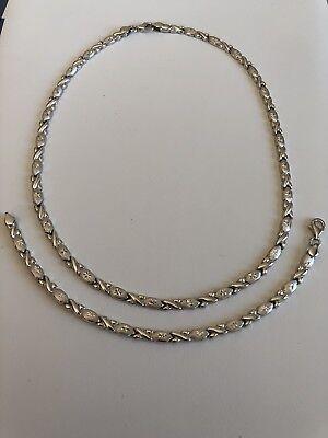 Thin Diamond Cut Hugs Kisses Bracelet & Necklace Chain Set Solid 925 Silver XO
