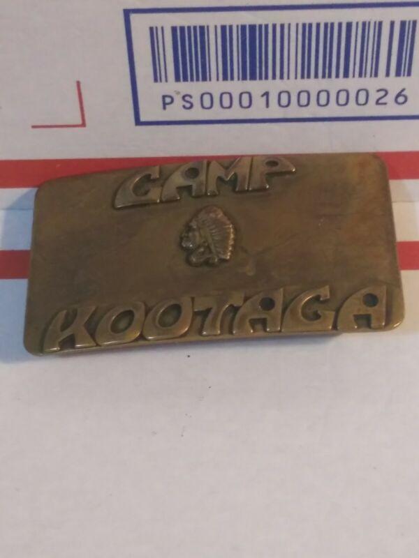 Vintage Boy Scouts Camp Kootaga Solid Brass Belt Buckle
