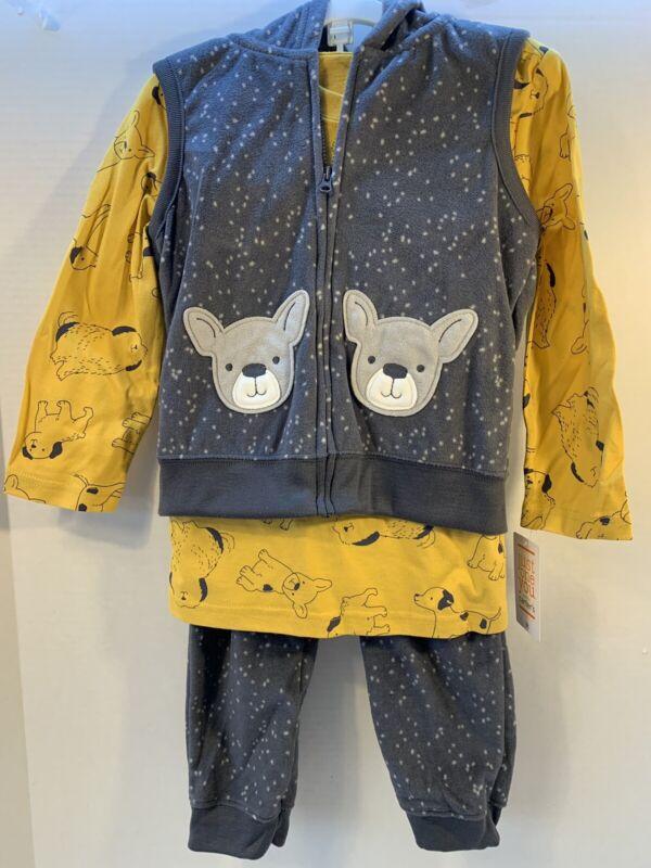 NEW Carters Baby Boys Fleece Puppy Dog 3 Piece Outfit Shirt Pants Vest Set 3T!