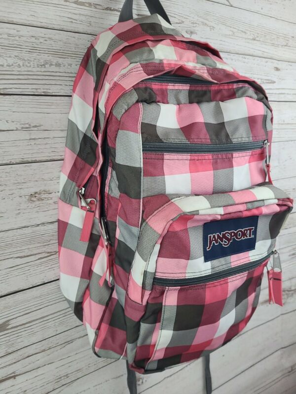 JanSport Big Student Backpack Pink Check Plaid School Bag Women