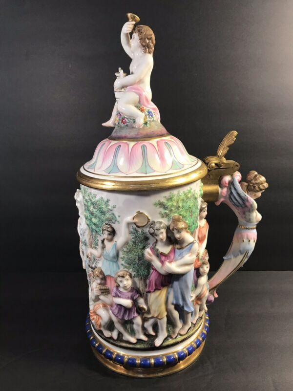 """Antique Porcelain Capodimonte Lidded Beer Stein/ With N Mark/ Italy C. 1880/ 14"""""""