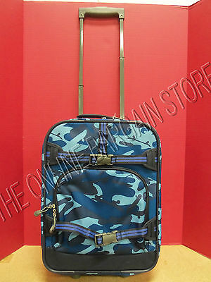 Camo Rolling Backpack (Pottery Barn Kids Mackenzie Rolling Luggage Backpack Bag Tote Blue Camo)