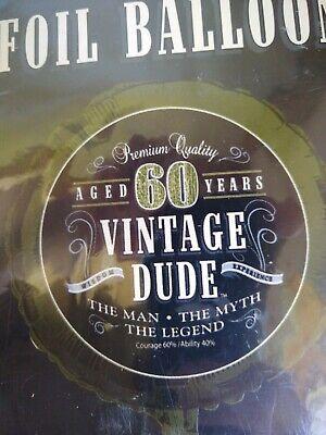 Vintage Dude 60th Birthday Foil Balloon The Man Myth Legend Party Decor - 60th Birthday Decor